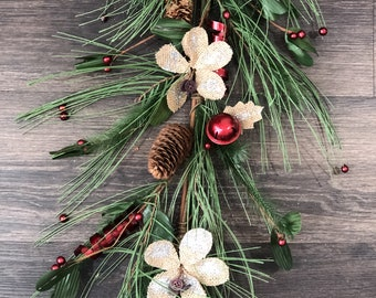 Holly Berry, Pine Cone, Red Bells with Burlap Glitter Flowers and Pine Needle Garland, Christmas Garland, Floral Garland