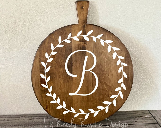 Monogrammed Large European Rustic Round Bread Board