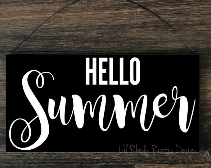 Hello Summer Sign,  Porch Post Sign