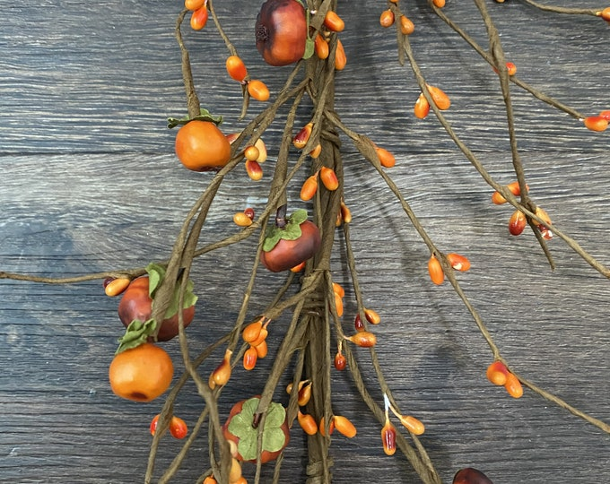 Pumpkin, Orange Pip Berry Garland, Country Garland, Floral Garland, Fall Garland, Autumn Garland