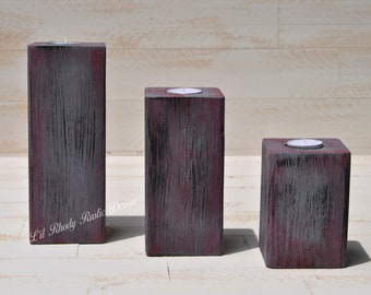 Wood Block Tealight Candle Holders