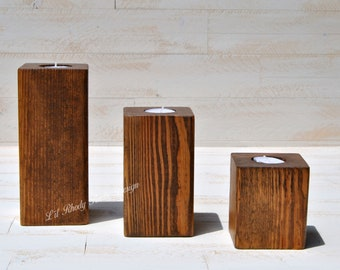 Set of 3 Rustic Wood Block Tealight Candle Holders