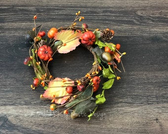 """Orange Pumpkin, Green Leaves, Pine Cone and Acorn, Pip  Berry 4.5"""" Candle Ring, Floral Candle Ring, Fall Candle Ring"""