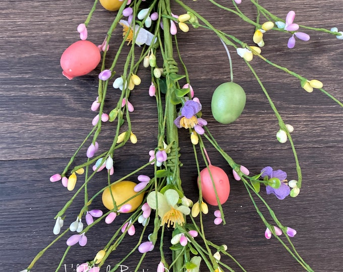 Pink, Yellow, Green, Easter Egg and Flower Pip Berry Garland