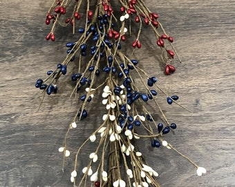 Red, White and Blue Pip Berry Garland