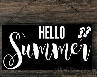 Hello Summer Sign,  Porch Post Sign