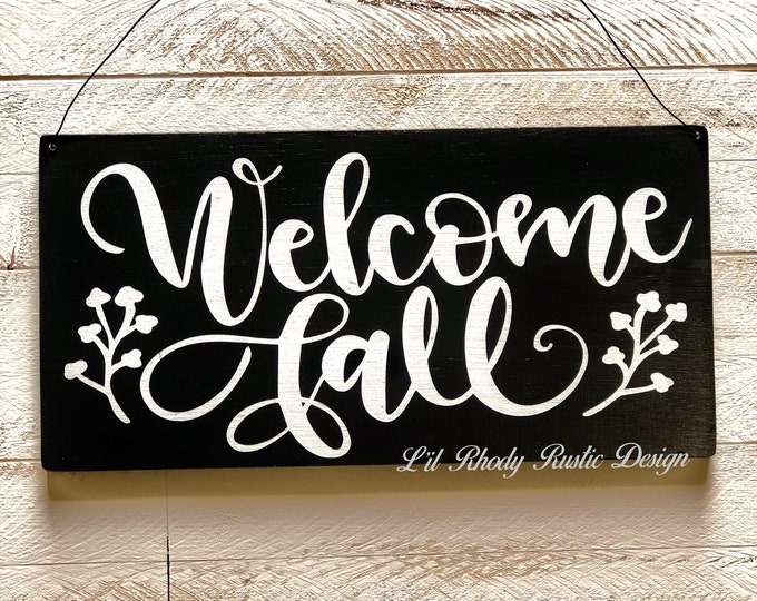 Welcome Fall Hanging Sign, Welcome Sign, Porch Decor, Entry Sign,Porch Post Sign,Door Sign, Fall Sign