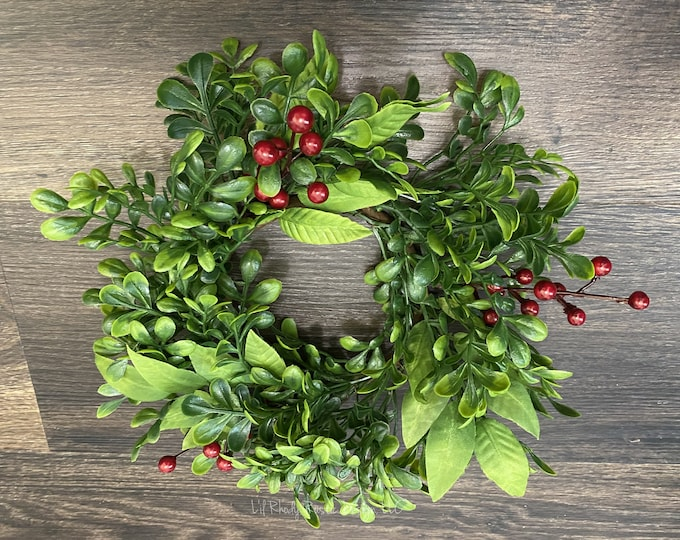 """Boxwood, Mistletoe, Red Berry  4.5"""" Candle Ring, Christmas Candle Ring, Winter Candle Ring"""