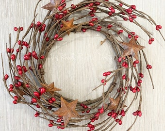 """Red, Rusty Star, 4.5"""" Candle Ring, Country Candle"""