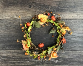"""Orange Pumpkin, Green Leaves, Pine Cone and Acorn, Pip  Berry 6.5"""" Candle Ring, Floral Candle Ring, Fall Candle Ring"""
