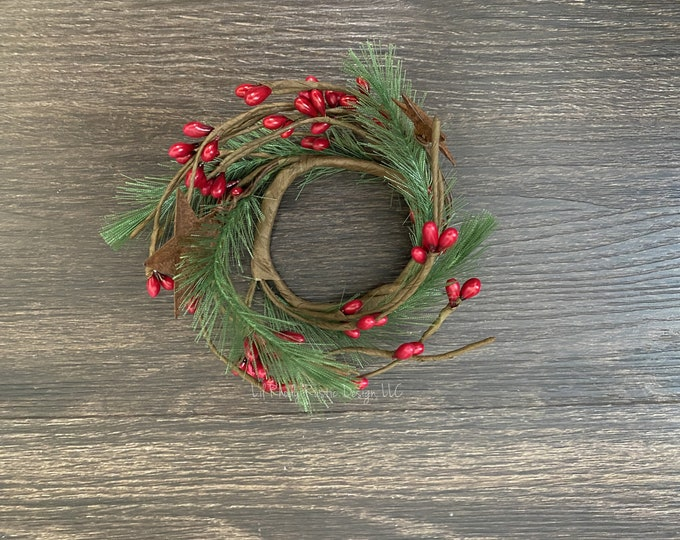 """Pencil Pine, Rusty Star, Red Pip Berry 1.5"""" Candle Ring, Country Candle, Christmas Candle Ring"""