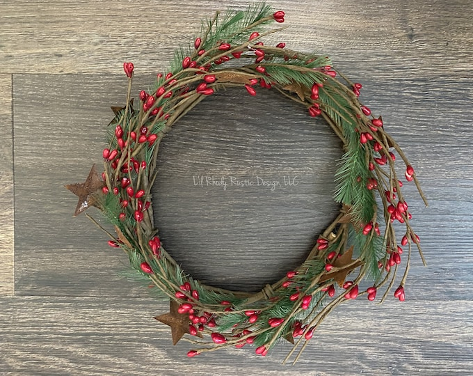 """Pencil Pine, Rusty Star, Red Pip Berry 6.5"""" Candle Ring, Country Candle, Christmas Candle Ring"""