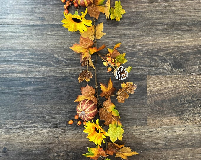 Sunflower, Assorted Autumn Maple Leaves, Pumpkins, and Pinecone Artificial Fall Garland