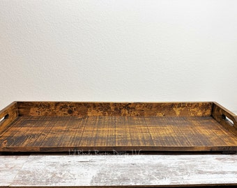 Extra Large Wooden Serving Tray, DIsplay Tray, Wood Centerpiece, ReClaimed, Repurposed Wood Tray,