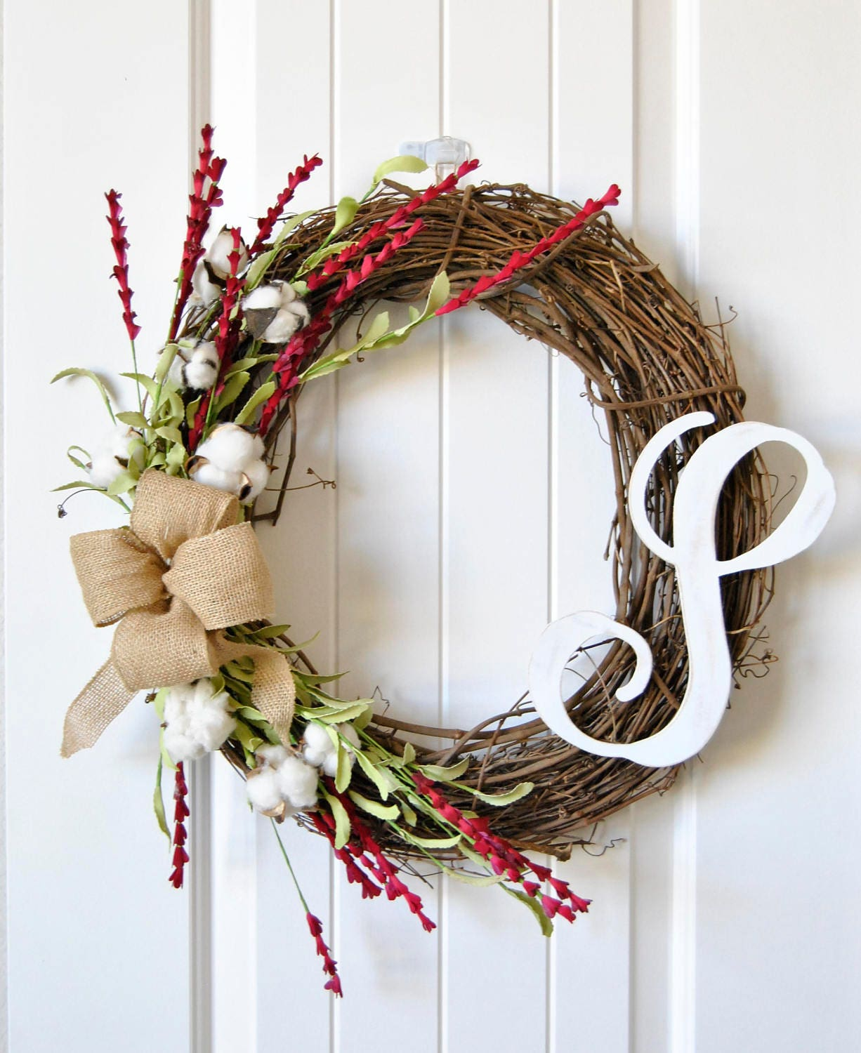 Farmhouse Cotton Grapevine Wreath