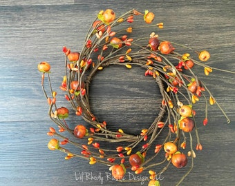 """Orange Pumpkin, Pip Berry 4.5"""" Candle Ring, Floral Candle Ring, Fall Candle Ring, Thanksgiving Candle Ring"""