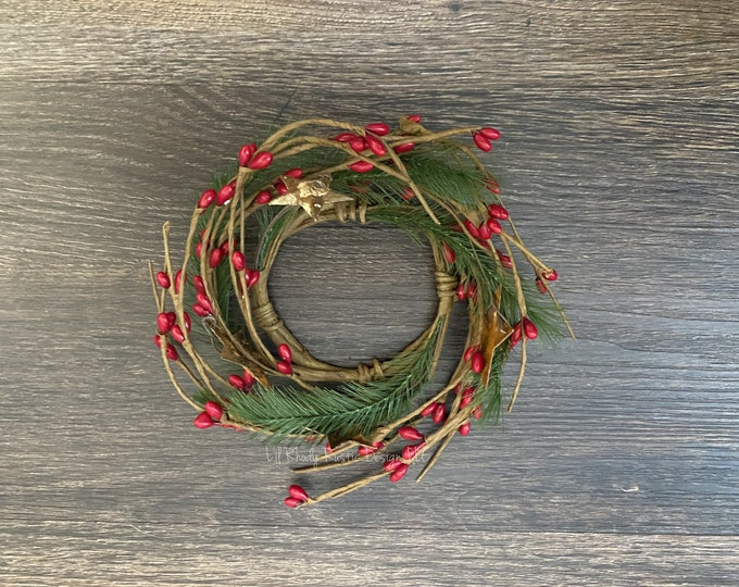 """Pencil Pine, Rusty Star, Red Pip Berry 2.5"""" Candle Ring, Country Candle, Christmas Candle Ring"""