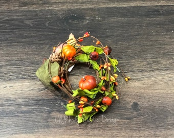 """Orange Pumpkin, Green Leaves, Pine Cone and Acorn, Pip  Berry 2.5"""" Candle Ring, Floral Candle Ring, Fall Candle Ring"""
