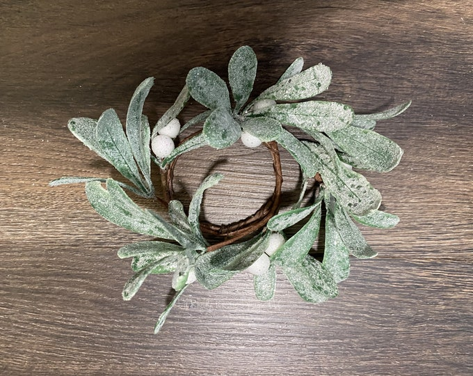 """Glittered Mistletoe 2.5"""" Candle Ring, Christmas Candle Ring, Winter Candle Ring"""
