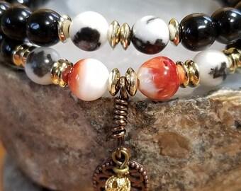 Healing Bracelet, Red Spiny Oyster, Black Zebra Jasper, Beaded Jewelry