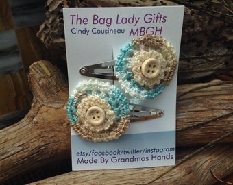 Hair Clips, Crochet Snap Clip and button
