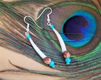 Ghost Bead Earrings, Dentalium Jewelry, Healing Shell, CoronoVirus dedication