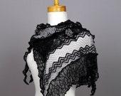 Gray black floral lace knit shawl wedding shawl evening shawl