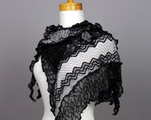 Grey black lace shawl\wedding lace shawl\bohemian grey shawl\grey flower lace shawl \knitting shawl\