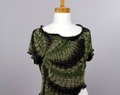 Evening pull 3 pieces/green pull/women pull/soft pull/unique/recycled clothing/sweater shoulder warmer/evening top green black golden thread