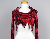 Women bolero/evening bolero/long sleeve bolero\one of kind bolero/fitted bolero/long sleeve shrug/sexy short bolero/bolero evening red black