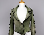 Green jacket/upcycled clothing/recycled clothes/shoulder warmer/ upcycled clothing/handmade jacket/Bolero green/evening bolero/long sleeve