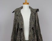 Ladies Vest/ brown Vest/Loose Vest/Long Sleeves Vest/Shoulder Vest/ReWomen Autumn Vests/Woolcycled Cardigan/Warm Shoulder Vest/Recycle vest