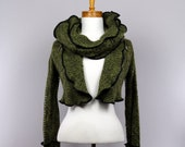 Green bolero detachable collar long sleeve recycled jacket handmade mohair evening jacket