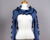 Evening cover up/evening blue top/top for women/one of kind top/fitted unique top/long sleeve top/blue women top/women sexy short top