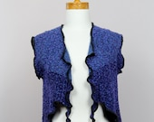 Blue purple vest/upcycled vest/women vest/small vest dress/unique vest/shoulder warmer/upcycled clothing/warm shoulder/jacket sweater