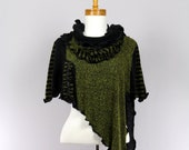 Green and black shawl poncho large size versatile large removable collar for woman shoulder warmer unique original shawl