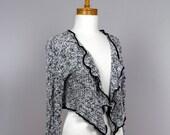 Black and white cotton knit jacket Long sleeve Recycled jacket Handmade jacket Evening jacket