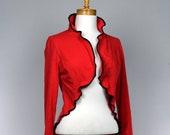 Red jacket women bolero style long sleeve recycled jacket handmade jacket evening
