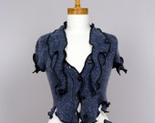 Blue Jacket 3 pieces/upcycled sweater/recycled clothes/minimalist jacket/Bolero blue/blue jacket short sleeves/ scarf wrist warmer