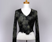 Black grey women's fitted cropped sweater long sleeve shrug back lace
