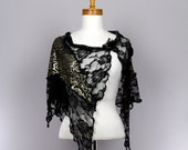 Sexy golden black floral lace shawl lace pattern rose gold