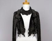 Ladies bolero larges /shoulder vest/bolero women evenig/women bolero/black recycle vest large size/ black metallic vest/long sleeves/collar