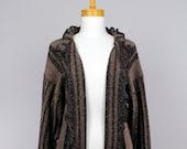 Ladies vest/brown vest/loose vest/long sleeves vest/Shoulder vest/women autumn vest/woolcycled cardigan/warm shoulder vest/recycle vest