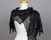 Black lace shawl / black shawl with silver thread / black lace scarf / black and silver scarf /elegant black lace shawl/black lace shrug