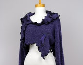 Bolero evening LARGE/purple bolero/women short sweater/one of kind bolero/bolero women/long sleeve shrug/sexy short sweater/purple sweater