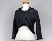 Short jacket Hooded blue gray Cotton long sleeves buttons Bolero style jacket Recycled handmade jacket evening