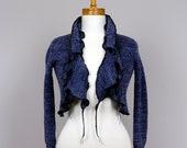 Blue Jacket 2 pieces/upcycled sweater/recycled clothes/minimalist jacket/upcycled clothing/Bolero blue/blue jacket three quarter sleeves