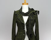 Green black jacket 2 pieces/upcycled sweater/recycled clothes/women jacket/upcycled clothing/jacket green/green jacket long sleeves/scarf