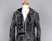 Long Sleeve Hooded Large Jacket Handmade Recycled Jacket Evening Jacket