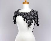 Asymmetrical cropped bolero lace sleeveless black silver detachable collar warms cuffs elf style shoulder shrug